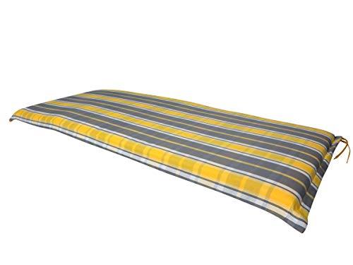 3-sitzer-bank Kissen (Doppler Luxus 3-Sitzer Wende Bankauflage Sommerville 4300K, ca. 155 x 54 x 6 cm, gelb anthrazit gestreift und Uni gelb, 5042304300K)