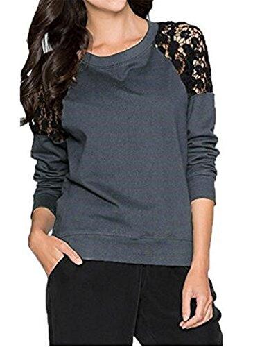 aada091362e5 AILIENT Camicia Donna Casuale Maglietta A Manica Lunga Rotondo Collo Pizzo  Cucitura T-Shirt Sciolto