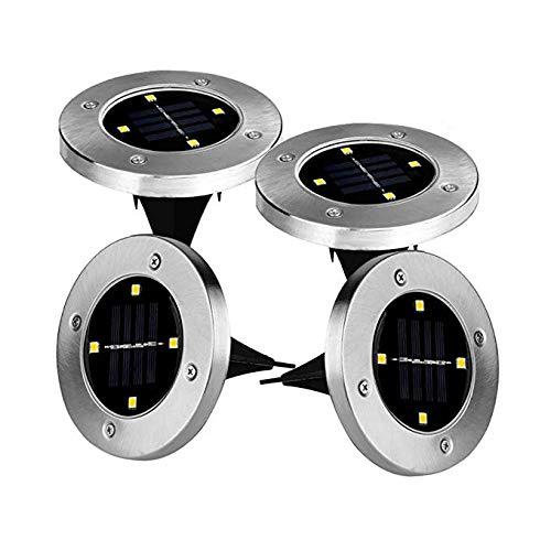 4 x LED Solarleuchten Solarlampen Bodenleuchte Edelstahl Garten Außen wasserdicht 100LM Warm Weiß Lichtfarbe energieeinsparende 5050 LED Solar