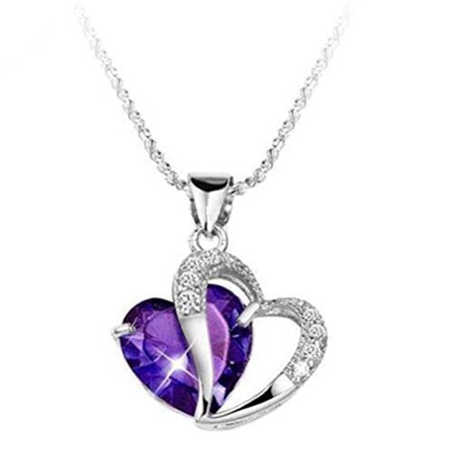 Fashion Women 925 Sterling Silver Amethyst Purple Heart Crystal Pendant Necklace