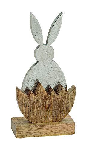 Hase Figur aus Metall Silber im Ei aus Holz Mangoholz Vintage Ostern Osterdeko Dekoration Osterhase 22 cm hoch