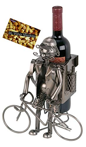 Brubaker Bottiglia di Vino Ciclista - Supporto Metallo Oggetto Decorativo Personaggi con Biglietto d' Auguri per Bottiglie di Vino Regalo