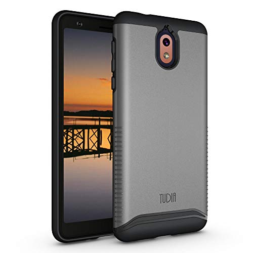TUDIA Nokia 3.1 Hülle, [Merge Series] Dual Layer Verstärkter Militärstandard Extremer Fallschutz/Robust mit Slim Fit Präzise Ausschnitte Phone Case für Nokia 3.1 (Metallic Slate)