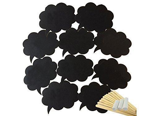 Hochzeits-Dekoration, 10 Requisiten für Fotos, beschreibbare schwarze Blanko-Karten mit Holzstäbchen für Hochzeit, Geburtstag, Events, Abschlussfeiern
