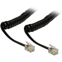 CDL Micro Cable de 3m (recogido, 60cm) en espiral rizado para auricular de teléfono RJ10, Negro