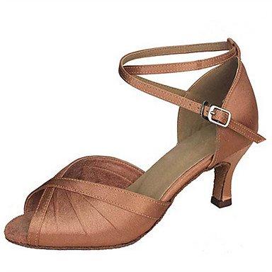 XIAMUO Anpassbare Damen Tanz Schuhe Satin Latin Jazz Swing Salsa Schuhe Sandalen angepasste Ferse Praxis Anfänger professionelle Schwarz