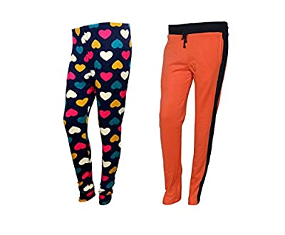 IndiWeaves 1 Womens Fleece Wollen Lower/Track Pants and 1 Womens Printed Warm Wollen Legging for Winter(Pack of 2)