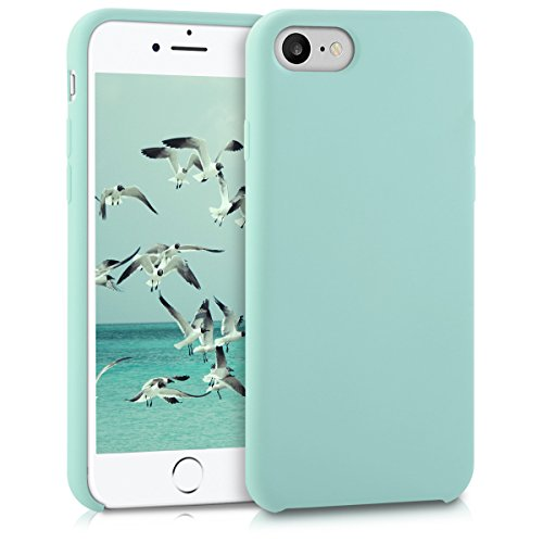 kwmobile Hülle für Apple iPhone 7 / 8 - TPU Silikon Backcover Case Handy Schutzhülle - Cover Rot matt .Mintgrün