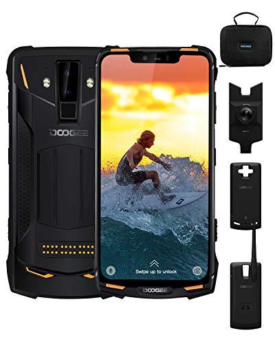 Rugged Mobile Phone, DOOGEE S90C 4G Dual SIM Free Smartphone Outdoor Android 9.0, Helio P70 4GB+64GB 6,18 Inch, 16MP+8MP AI Camera, 10050mAh(Power Mod Included), IP68/IP69K Waterproof, NFC, Orange