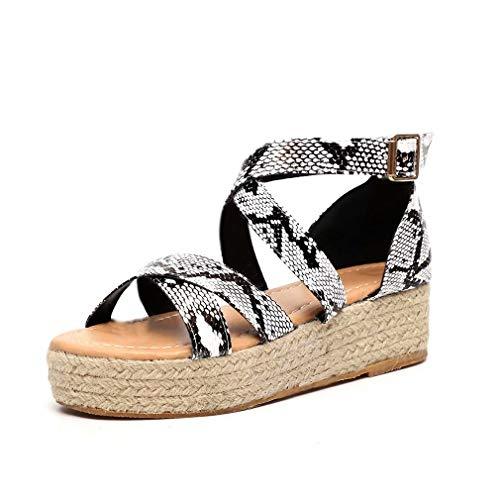 Sandalen Damen Plateau Espadrille Keilabsatz Sommer Sandaletten 5 cm Absatz Peep Toe Flach Leder Keil Sommerschuhe Bequeme Schlange 36 - Open-toe Espadrilles