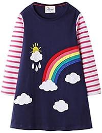 Bebé Niñas Vestidos,Vestido Casual de Manga Larga con Estampado Animal de Dinosaurio para 1-7 años