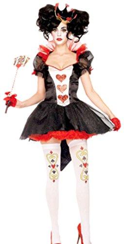erdbeerloft - Unisex - Erwachsene Kostüm Königin mit Haarteil, S, (Die Rote Im Wunderland Alice In Kostüm Königin)