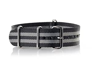 VK von Buran01.com Militär Nylon Uhrenarmband Black/Grey 20mm WATCH STRAP