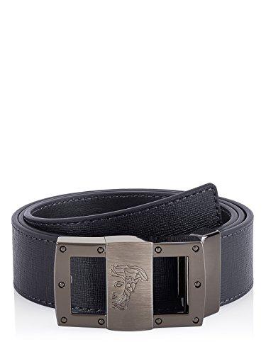 Versace Collection Men's Medusa Steel Buckle Saffiano Leather Belt Black