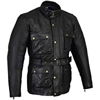 Bikers Gear Classic Vintage Trail Blazer CE1621-1 PU Armour  Motorcycle Waxed & Oiled Age Treated Leather Jacket - Black - 3XL