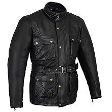 Cerato & oliato, colore: cinturino in pelle, da motociclista, modello Jacked Bikers Gear,nero, 3XL