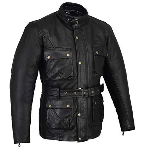 Bikers Gear Klassische Vintage Trail Blazer CE1621-1 PU Rüstung Motorrad gewachste & geölt Alter behandelt Lederjacke - Schwarz - 3XL