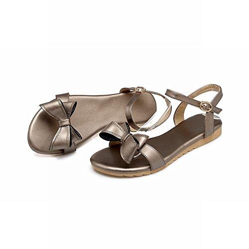 Mee Shoes Damen süß flach Schleife Schnalle Sandalen Taupe