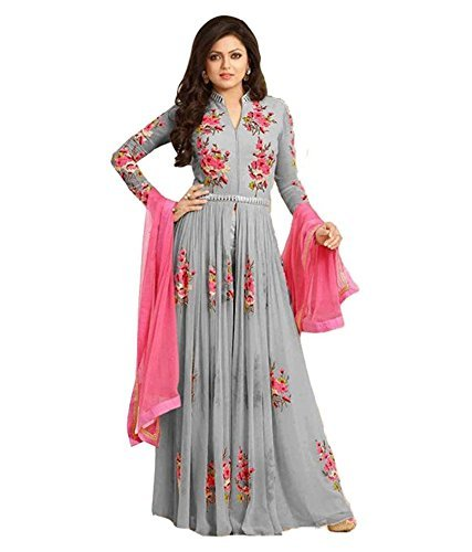 Jil Creation Women\'s Crepe Chiffon Dress Material (JC027_Grey_Free Size)
