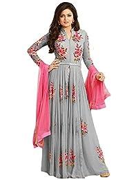 Jil Creation Women's Crepe Chiffon Dress Material (JC027_Grey_Free Size)