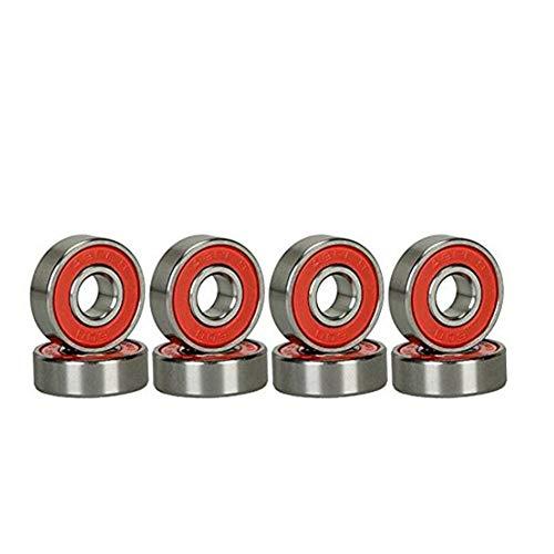 Naisicatar 8Pcs Rot Kunststoff Geschirmt Miniatur 608-2RS Kugellager Rillenkugellager High Speed ??Ersatzlager für Hand Spinner Skateboard-Lager, Rollschuhe und Spielzeug DIY +