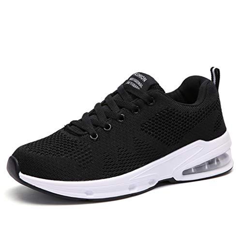 Sportschuhe Damen Turnschuhe Sneaker Freizeit Air Rutschfeste Laufschuhe DäMpfung Leichte Atmungsaktive Schuhe Schwarz Blau Rot Gr.35-42 BK39
