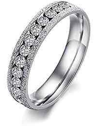 Ilove EU Anillo de acero inoxidable banda anillo Circonita Plata Arena narguile San Valentín Querido par