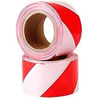 TopSoon Cinta Balizamiento Rojo y Blanco 200 m x 70 mm No Adhesivo (1 Rollo)