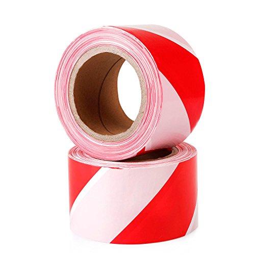 Topsoon Warnband 70 mm x 200 m Rot und Weiß nicht Klebend Absperrband