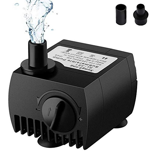 SeeKool Mini Bomba de Agua Ultra Silencioso 300L/H Submersible Pump 3W Circulation Pump con 2 Boquillas...