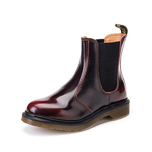 Stiefel & Stiefeletten Lederschuh Sleeve Beide geschlechter können Runder kopf Ende von rindfleisch-Rot Fußlänge=24.8CM(9.8Inch) (Stiefel Herren Kleiden Zip)