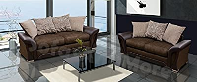 Sharon 2&3 Seater Sofa Set Brown Or Black And Grey Fabric Leather by Meble Roberto sp.z.o.o