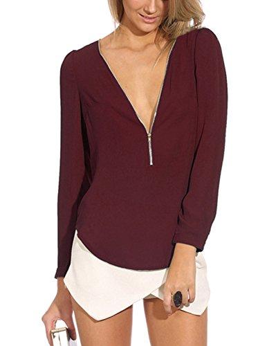 LaoZan Femme T-Shirt Col V Fermeture Éclair Manches Longues Chiffon Pullover Blouse Vin Rouge