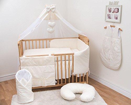 10-teiliges Baby Bettwäsche Set passend zu 120x60cm Kinderbett - Creme - Stoßstange Bettwäsche Weiße Kinderbett