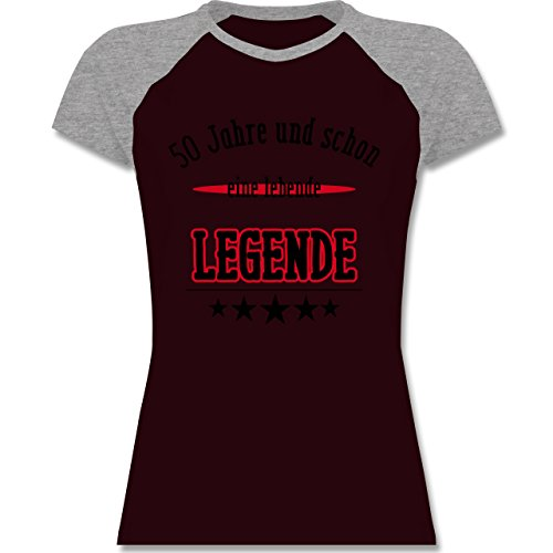 Geburtstag - 50. Geburtstag Legende Fun Geschenk - zweifarbiges Baseballshirt / Raglan T-Shirt für Damen Burgundrot/Grau meliert