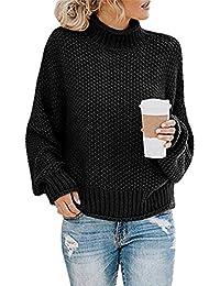 Socluer Sudaderas para Mujer con Cuello Alto y Manga Larga Suéter Señoras Suéter de Punto Cuello Alto Ocio Suéter Elegante Sudadera Tops de Gran tamaño
