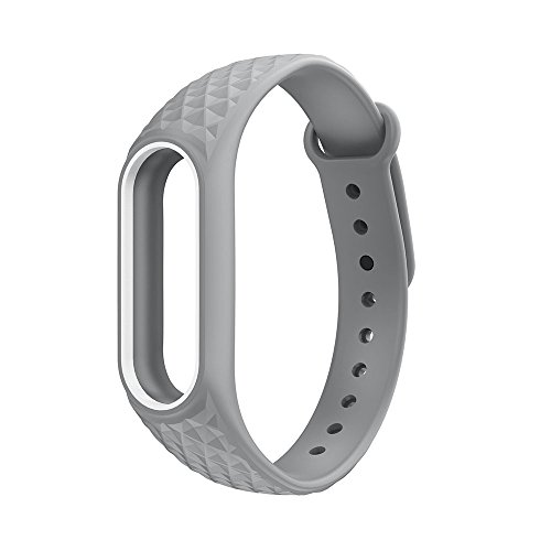 Everycom Grey White Replacement TPU Strap For Xiaomi Mi Band 2 | Xiaomi Band HRX ( Chip Not Included)