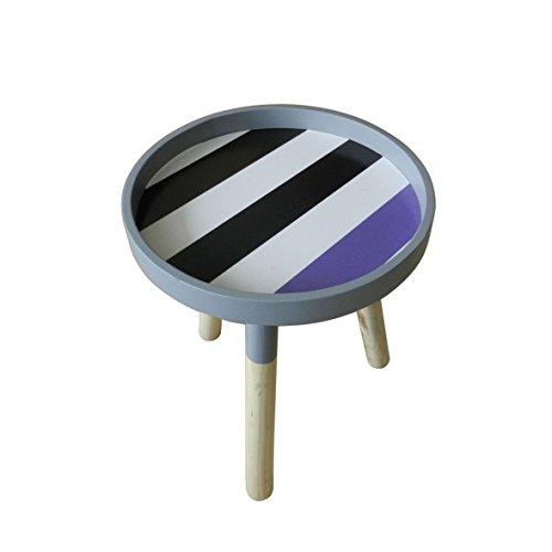 Moderne Portable Table basse ronde en bois amovible avec accents de petite table Ckd Table d'appoint avec 3 amovible Legs. Motif striée multicolores. Dia.29,2 cm X H34,9 cm