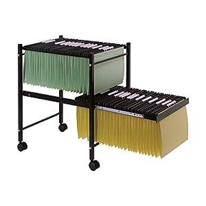 Q-Connect Carrito Para Carpetas Colgantes Negro Con Ruedas Y bandeja Inferior Extraíble Para Carpetas Tamaño Folio