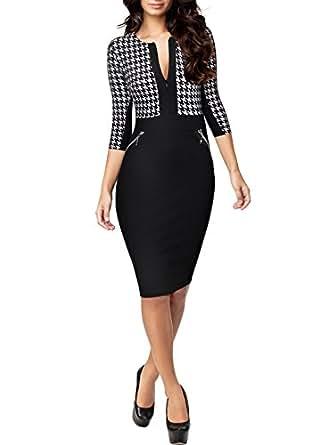 Miusol vestiti longuette donne vintage slim contrasto for Vestiti amazon