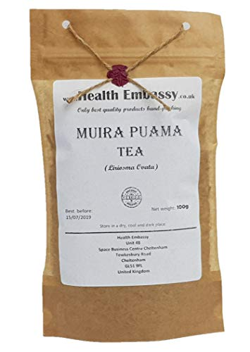Muira Puama Tee (Liriosma Ovata/Ptychopetalum) - Health Embassy - 100{4fb2f675f94938f88e5456b1e8d967f85ff3f4dea3afb84b576f4468757a73a6} Natural (100g)