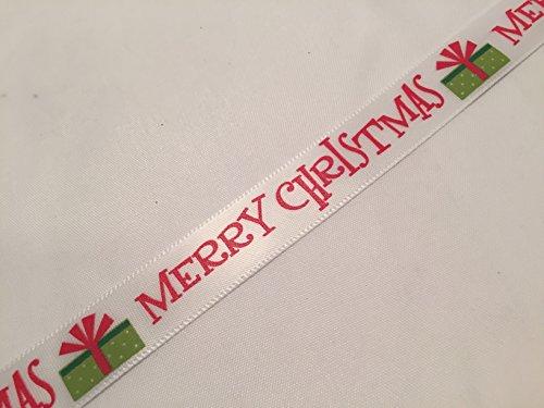 Groves & Banks Weihnachten Band trimmen X 2Meter, White Satin Red Merry Christmas Present 15mm Wide, 38mm