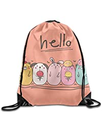 fengxutongxue Cute Animal with Say Hello Drawstring Backpack Travel Bag Gym Outdoor Sports Portable Drawstring Beam