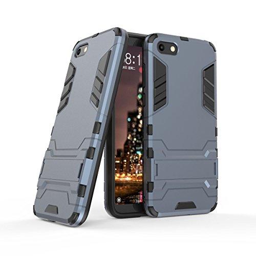HDRUN Huawei Y5 2018 / Y5 Prime 2018 / Honor 7S Hülle, 2 In1 Kratzfeste Handyhülle Hybrid TPU Silikon Schale PC Doppelschichter Schutzhülle Standfunktion für Huawei Y5 2018 Case Cover, Dunkelblau