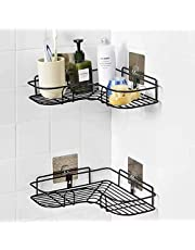 Xenoty Self-Adhesive Metal Bathroom Corner Rack Storage Shelves, Bathroom Storage Rack Corner, Stainless Steel Bathroom Corner Shelf Organizer Storage, Bathroom Shelf/Shelves Corner - Black