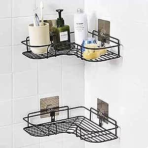 Xenoty Self-Adhesive Metal Bathroom Corner Rack Storage Shelves, Bathroom Storage Rack Corner, Stainless Steel Bathroom Corner Shelf Organizer Storage, Bathroom Shelf/Shelves Corner - Black