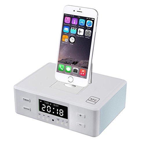 NAOYINXI Stereo Wecker FM Radio mit Blitzdock Laden/Spielen für iPhone 5 / 5S 6 / 6Plus 7 / 7Plus Typ-C & Micro-USB 2.0 Port Smartphone - Weiß (Am-fm-radiowecker Für Iphone)