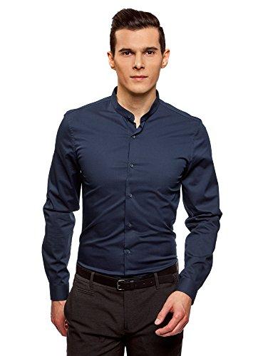 Oodji ultra uomo camicia in cotone con collo alla coreana, blu, 41cm/it 48/eu 41/m