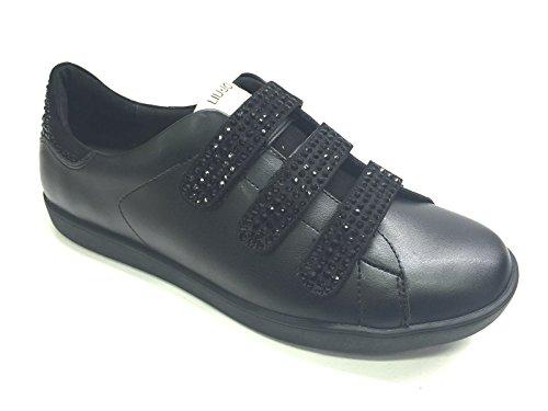Che Gestiscono Velcri Liu Jo Strass In Sarà Pelle Confermare Sneaker Donne Nera TE7Sw7qa