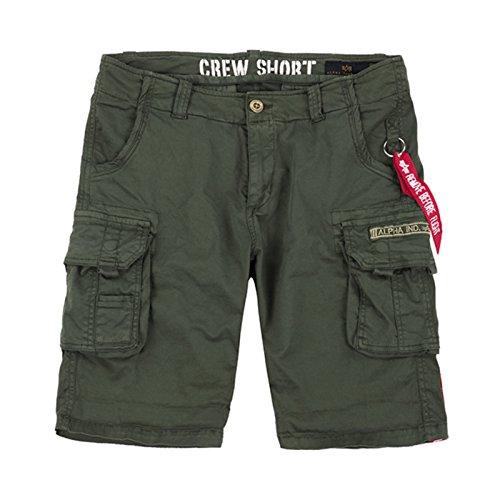 Alpha Industries Crew Short bequeme kurze Cargo Hose mit Beintaschen und Elastananteil, Farbe:dark olive, Größe:32